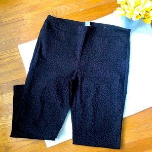 Chico's Black Leopard Print Pull On Pants XL